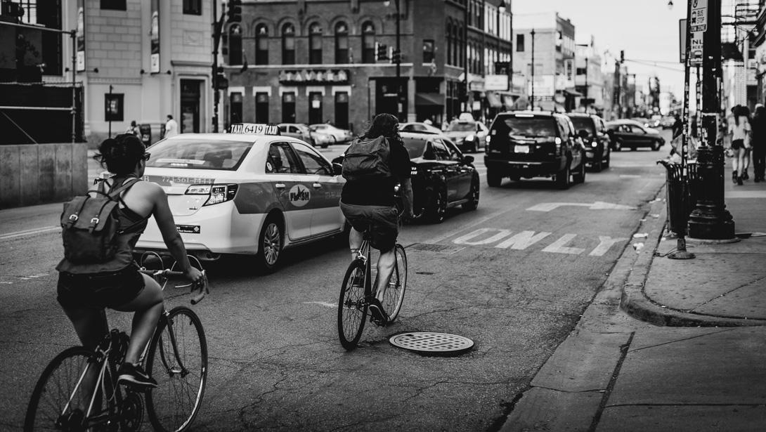 bikes, city, cars